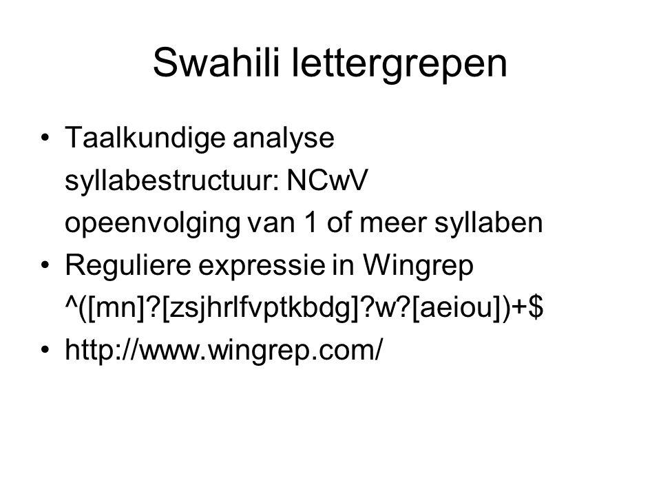 Swahili lettergrepen Taalkundige analyse syllabestructuur: NCwV opeenvolging van 1 of meer syllaben Reguliere expressie in Wingrep ^([mn]?[zsjhrlfvptk