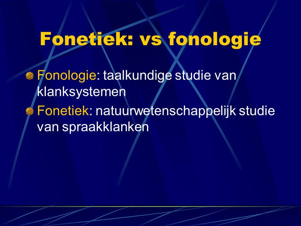 Fonetiek: vs fonologie Fonologie: taalkundige studie van klanksystemen Fonetiek: natuurwetenschappelijk studie van spraakklanken