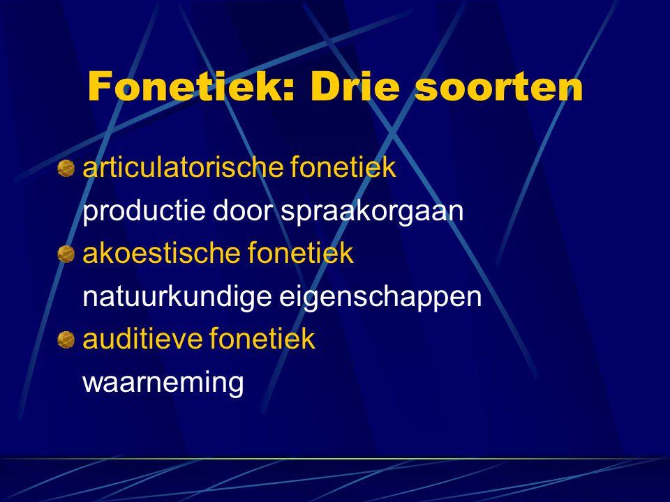 Fonetiek: Drie soorten articulatorische fonetiek productie door spraakorgaan akoestische fonetiek natuurkundige eigenschappen auditieve fonetiek waarneming