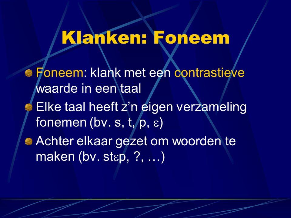 Klanken: Foneem Foneem: klank met een contrastieve waarde in een taal Elke taal heeft z'n eigen verzameling fonemen (bv.