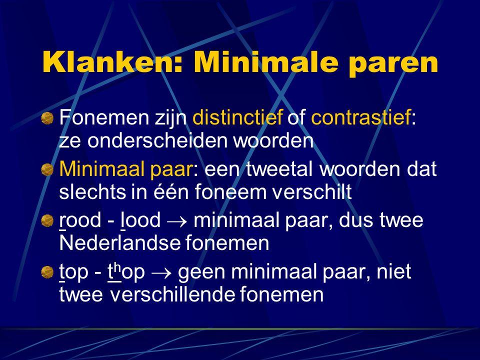 Klanken: Minimale paren Fonemen zijn distinctief of contrastief: ze onderscheiden woorden Minimaal paar: een tweetal woorden dat slechts in één foneem