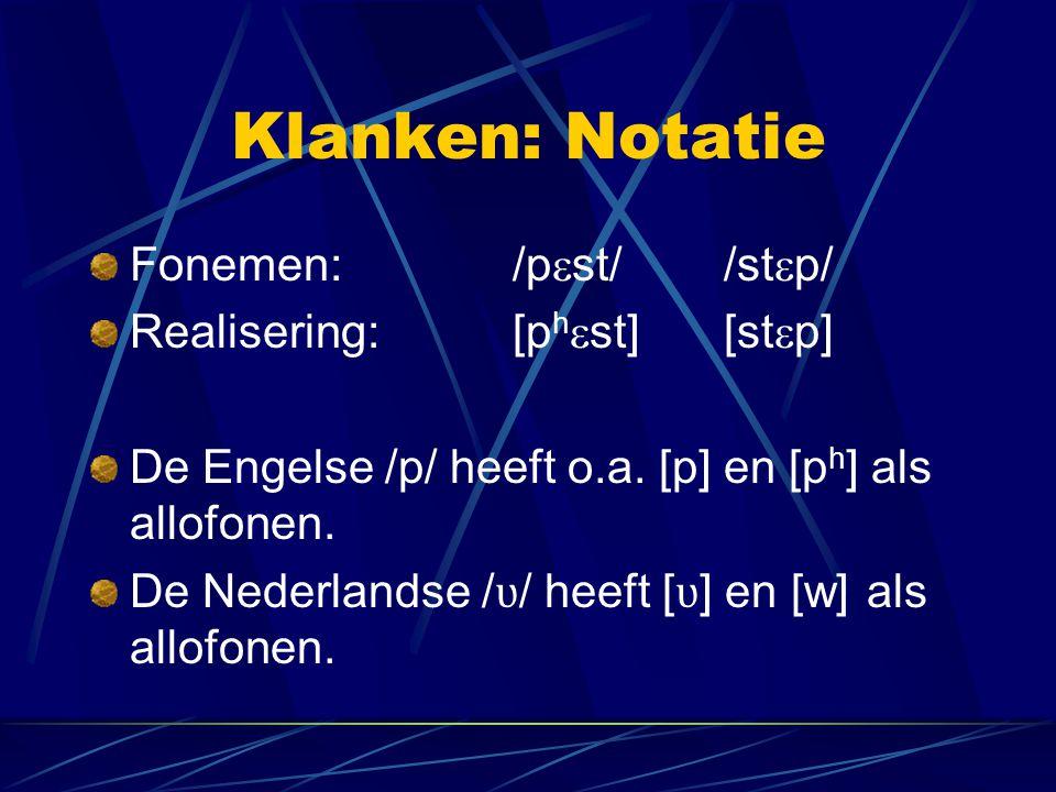 Klanken: Notatie Fonemen: /p  st//st  p/ Realisering: [p h  st][st  p] De Engelse /p/ heeft o.a. [p] en [p h ] als allofonen. De Nederlandse / ʋ /