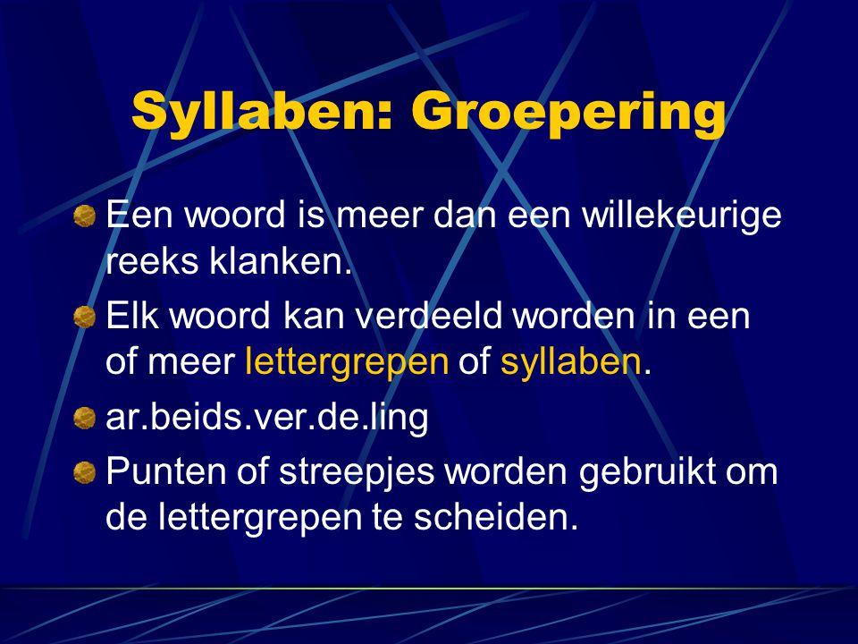 Syllaben: Groepering Een woord is meer dan een willekeurige reeks klanken. Elk woord kan verdeeld worden in een of meer lettergrepen of syllaben. ar.b