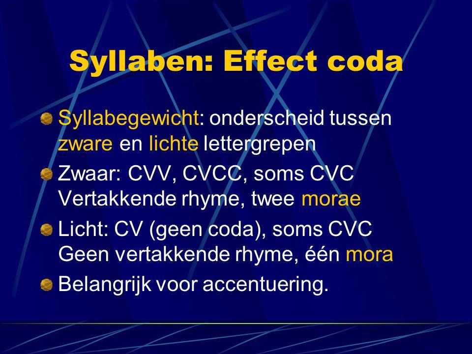 Syllaben: Effect coda Syllabegewicht: onderscheid tussen zware en lichte lettergrepen Zwaar: CVV, CVCC, soms CVC Vertakkende rhyme, twee morae Licht: CV (geen coda), soms CVC Geen vertakkende rhyme, één mora Belangrijk voor accentuering.