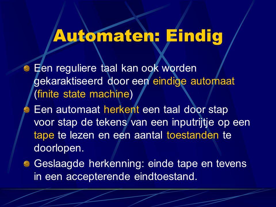 Automaten: Eindig Een reguliere taal kan ook worden gekaraktiseerd door een eindige automaat (finite state machine) Een automaat herkent een taal door stap voor stap de tekens van een inputrijtje op een tape te lezen en een aantal toestanden te doorlopen.