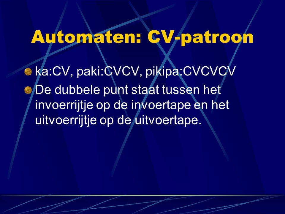 Automaten: CV-patroon ka:CV, paki:CVCV, pikipa:CVCVCV De dubbele punt staat tussen het invoerrijtje op de invoertape en het uitvoerrijtje op de uitvoe