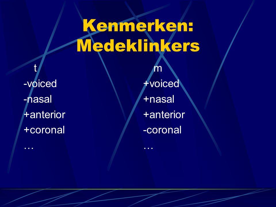 Kenmerken: Medeklinkers t -voiced -nasal +anterior +coronal … m +voiced +nasal +anterior -coronal …