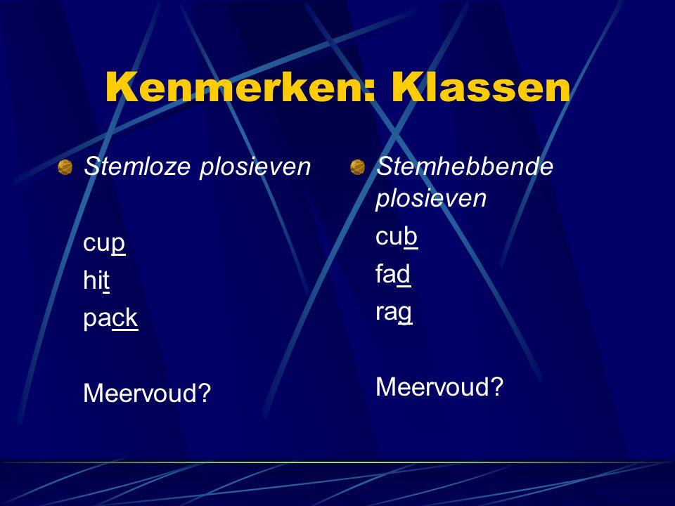Kenmerken: Klassen Stemloze plosieven cup hit pack Meervoud? Stemhebbende plosieven cub fad rag Meervoud?