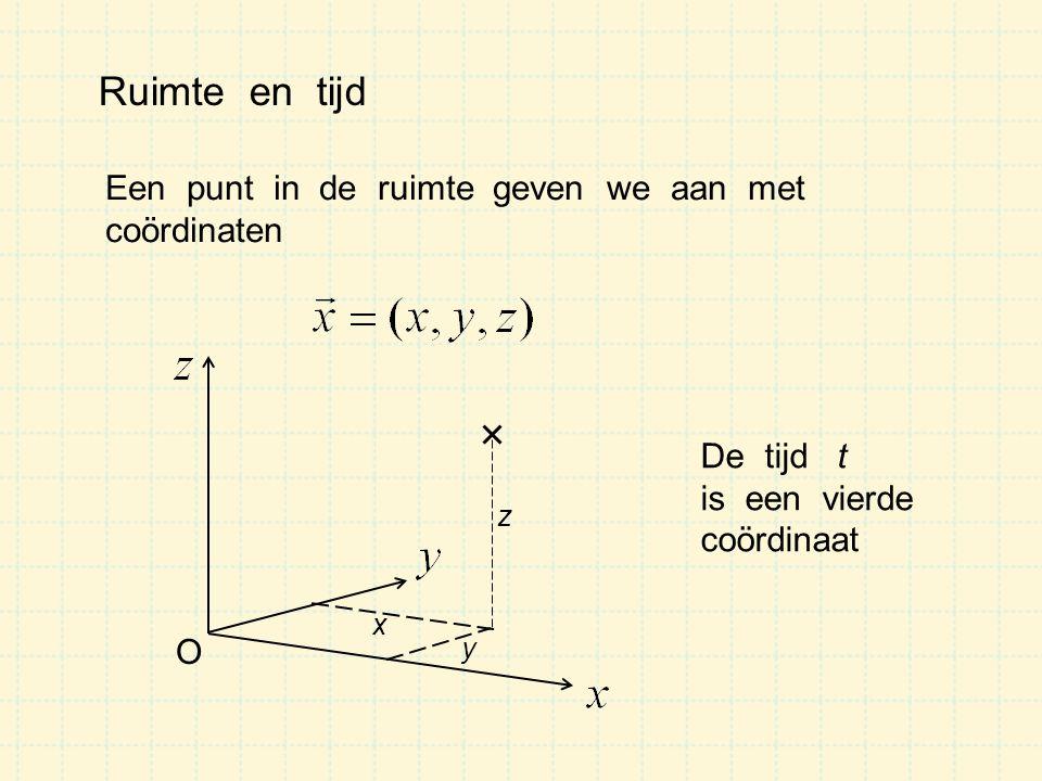 Ruimte en tijd Een punt in de ruimte geven we aan met coördinaten x O y z De tijd t is een vierde coördinaat