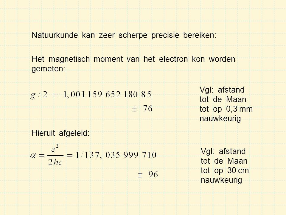 Natuurkunde kan zeer scherpe precisie bereiken: Het magnetisch moment van het electron kon worden gemeten: Vgl: afstand tot de Maan tot op 0,3 mm nauw