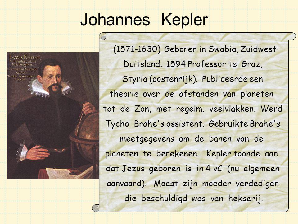 Johannes Kepler (1571-1630) Geboren in Swabia, Zuidwest Duitsland. 1594 Professor te Graz, Styria (oostenrijk). Publiceerde een theorie over de afstan