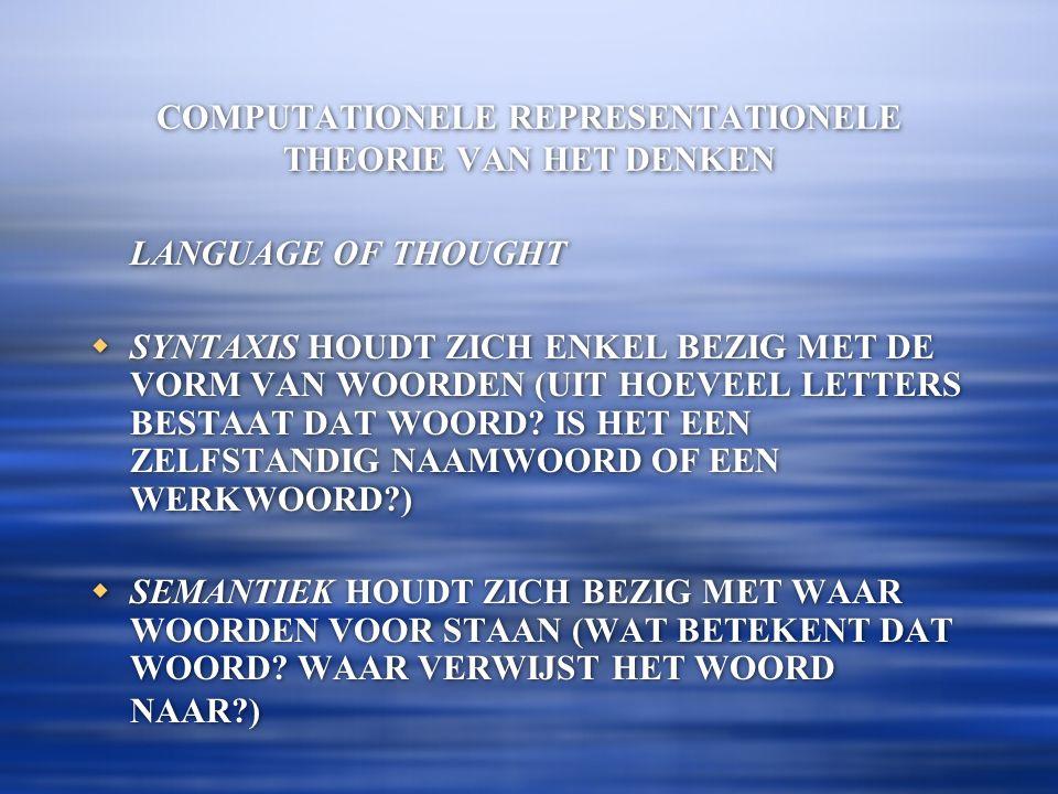 COMPUTATIONELE REPRESENTATIONELE THEORIE VAN HET DENKEN LANGUAGE OF THOUGHT  SYNTAXIS HOUDT ZICH ENKEL BEZIG MET DE VORM VAN WOORDEN (UIT HOEVEEL LETTERS BESTAAT DAT WOORD.