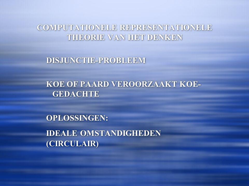 COMPUTATIONELE REPRESENTATIONELE THEORIE VAN HET DENKEN DISJUNCTIE-PROBLEEM KOE OF PAARD VEROORZAAKT KOE- GEDACHTE OPLOSSINGEN: IDEALE OMSTANDIGHEDEN (CIRCULAIR) DISJUNCTIE-PROBLEEM KOE OF PAARD VEROORZAAKT KOE- GEDACHTE OPLOSSINGEN: IDEALE OMSTANDIGHEDEN (CIRCULAIR)