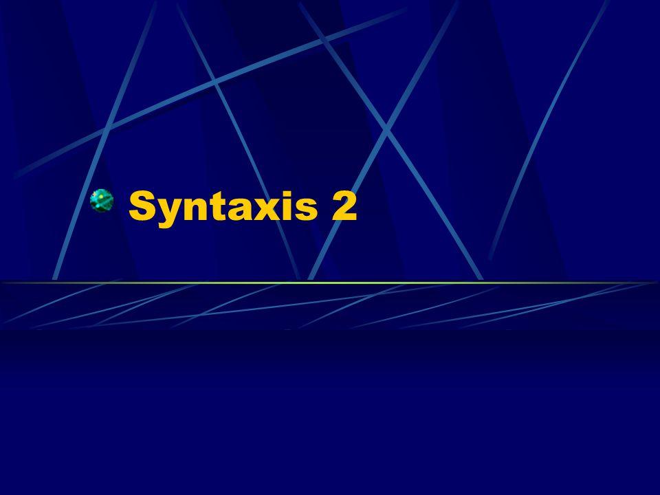 Inleiding Syntaxis: de combinaties van woorden tot woordgroepen en zinnen.
