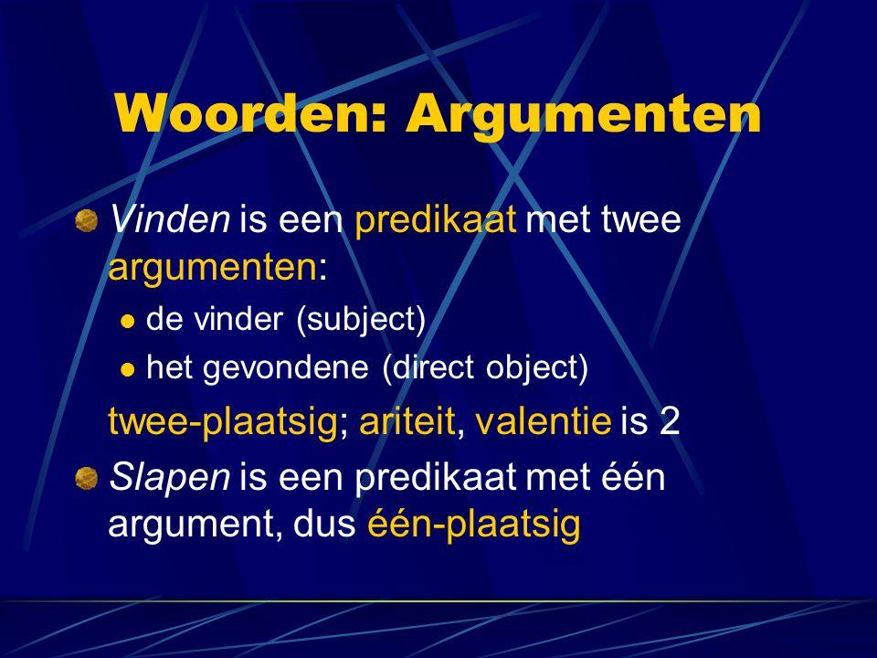 Woorden: Argumenten Vinden is een predikaat met twee argumenten: de vinder (subject) het gevondene (direct object) twee-plaatsig; ariteit, valentie is