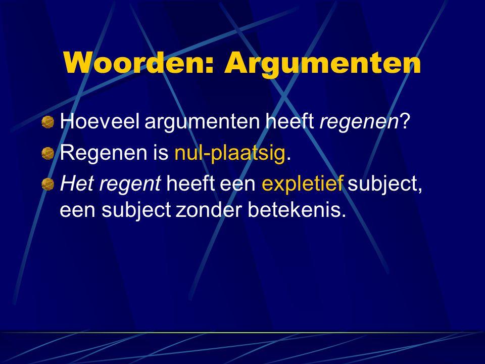 Woorden: Argumenten Hoeveel argumenten heeft regenen? Regenen is nul-plaatsig. Het regent heeft een expletief subject, een subject zonder betekenis.