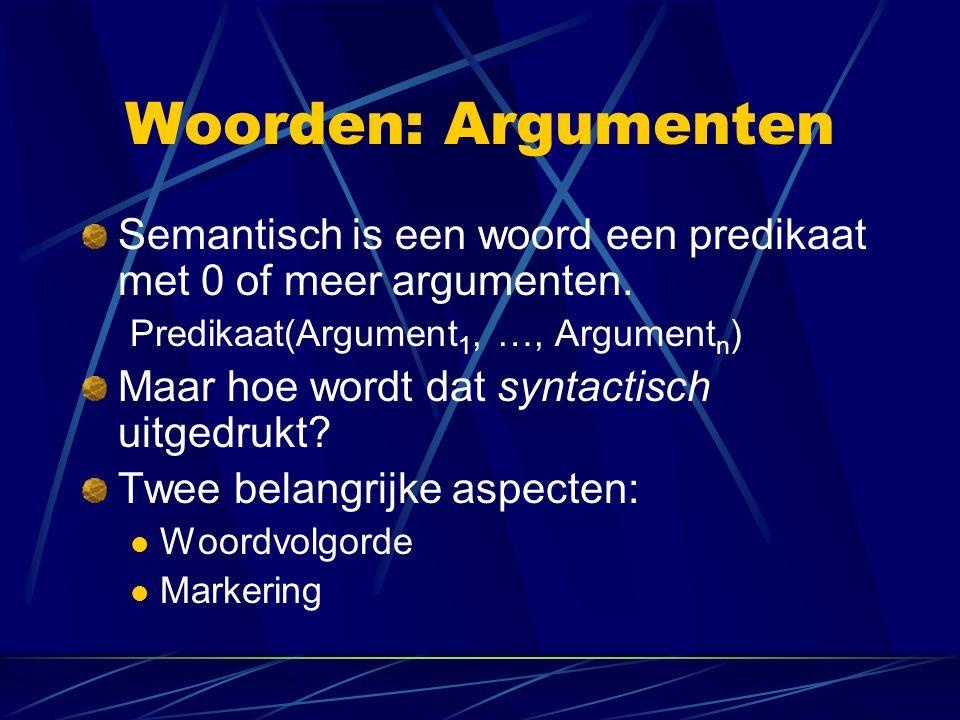 Woorden: Argumenten Semantisch is een woord een predikaat met 0 of meer argumenten. Predikaat(Argument 1, …, Argument n ) Maar hoe wordt dat syntactis
