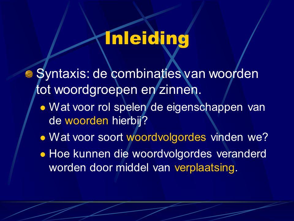 Inleiding Syntaxis: de combinaties van woorden tot woordgroepen en zinnen. Wat voor rol spelen de eigenschappen van de woorden hierbij? Wat voor soort