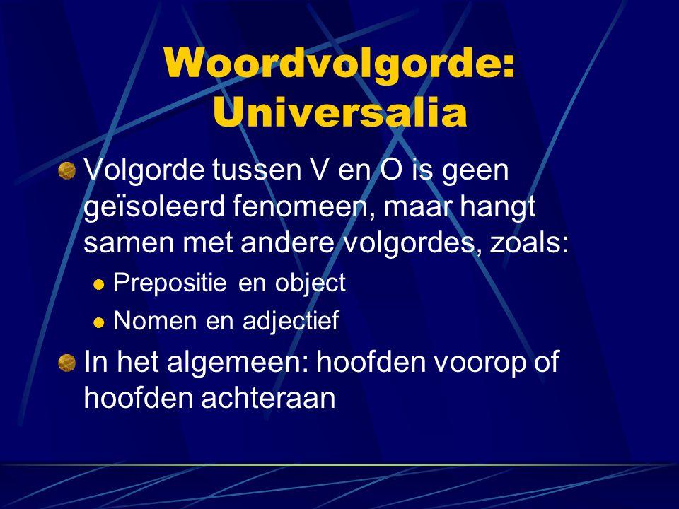 Woordvolgorde: Universalia Volgorde tussen V en O is geen geïsoleerd fenomeen, maar hangt samen met andere volgordes, zoals: Prepositie en object Nome