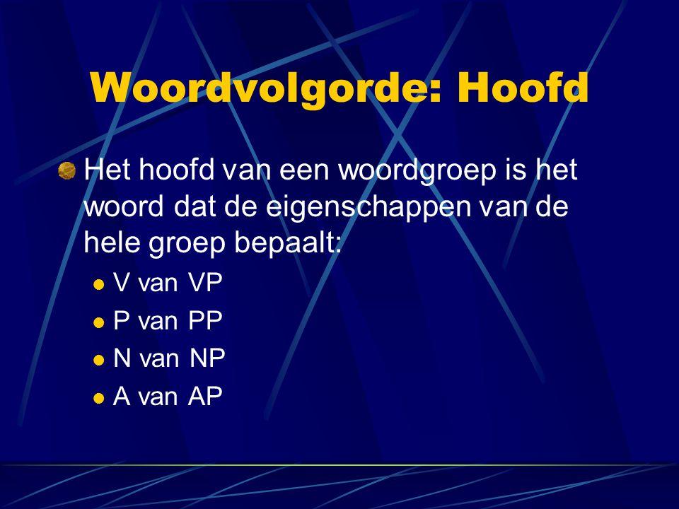 Woordvolgorde: Hoofd Het hoofd van een woordgroep is het woord dat de eigenschappen van de hele groep bepaalt: V van VP P van PP N van NP A van AP