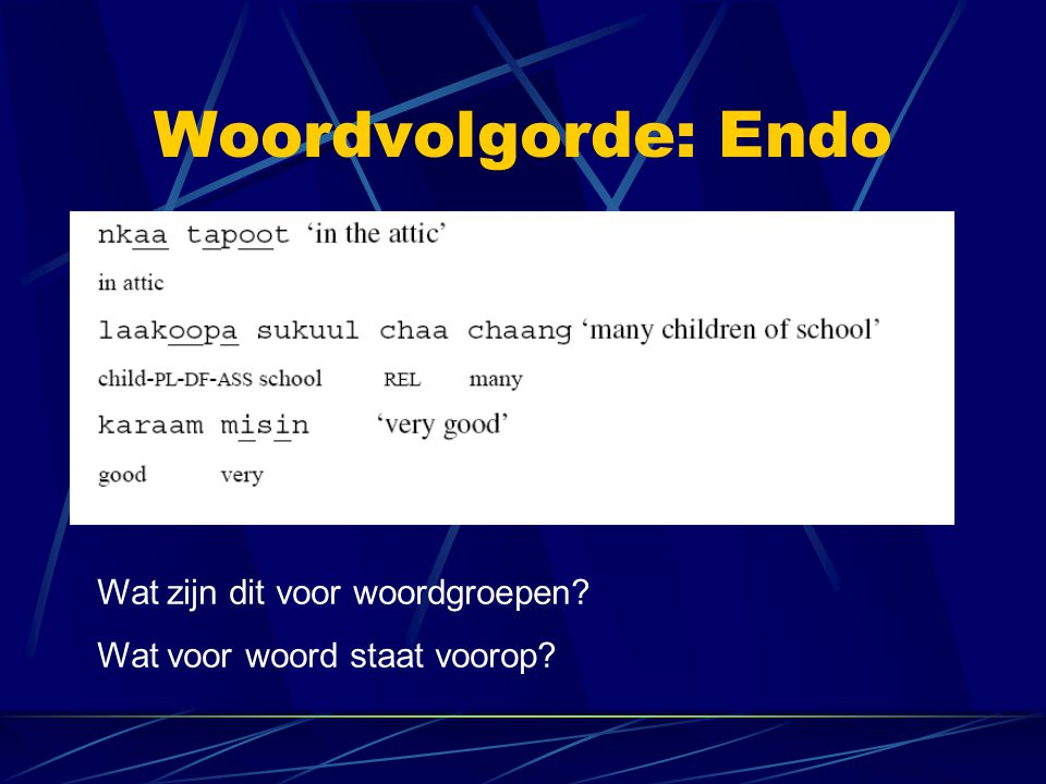 Woordvolgorde: Endo Wat zijn dit voor woordgroepen? Wat voor woord staat voorop?