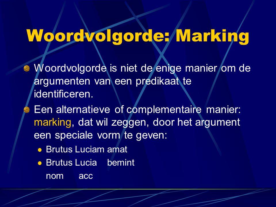 Woordvolgorde: Marking Woordvolgorde is niet de enige manier om de argumenten van een predikaat te identificeren. Een alternatieve of complementaire m