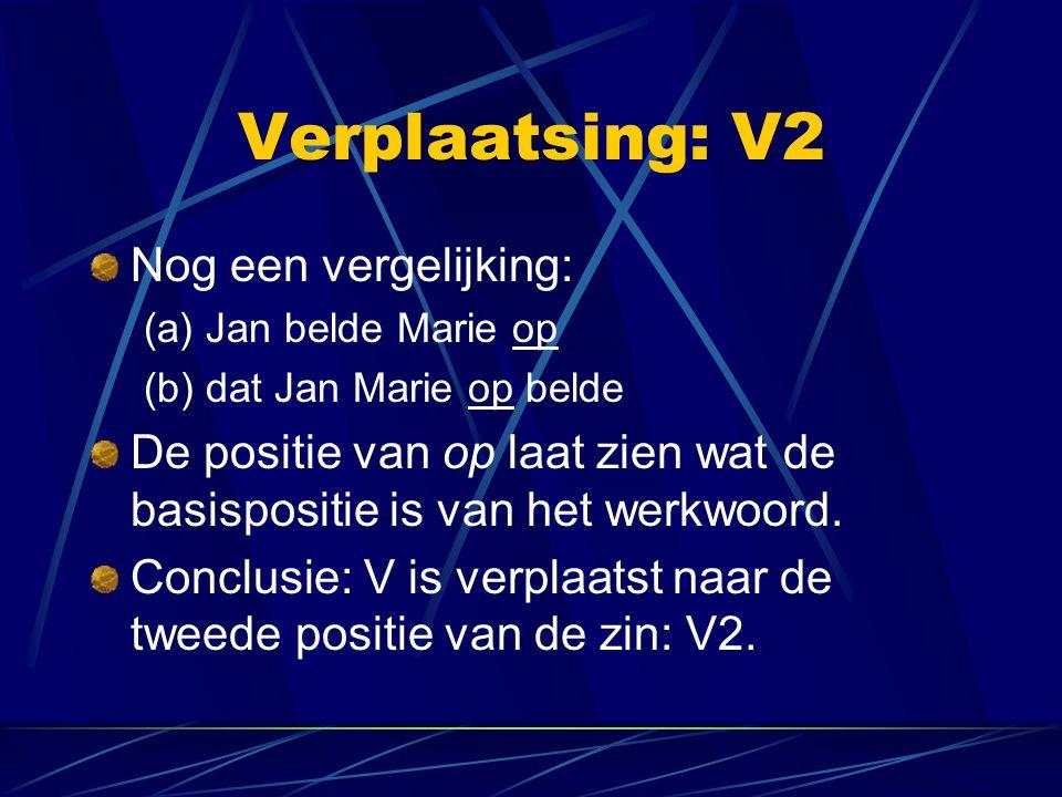 Verplaatsing: V2 Nog een vergelijking: (a) Jan belde Marie op (b) dat Jan Marie op belde De positie van op laat zien wat de basispositie is van het we