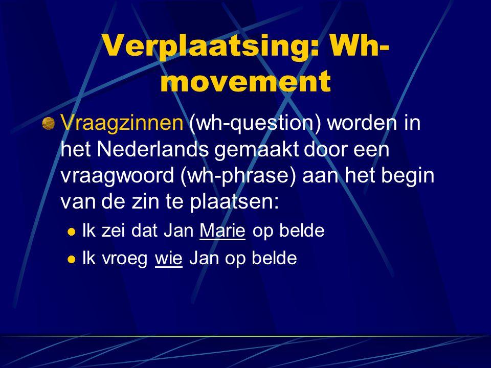 Verplaatsing: Wh- movement Vraagzinnen (wh-question) worden in het Nederlands gemaakt door een vraagwoord (wh-phrase) aan het begin van de zin te plaa