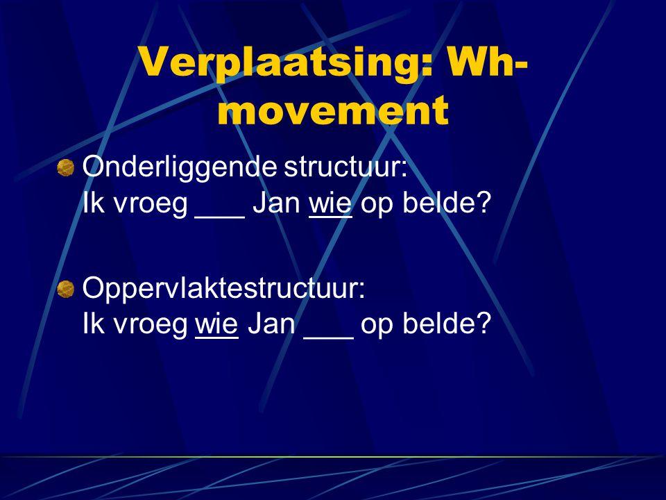 Verplaatsing: Wh- movement Onderliggende structuur: Ik vroeg ___ Jan wie op belde? Oppervlaktestructuur: Ik vroeg wie Jan ___ op belde?