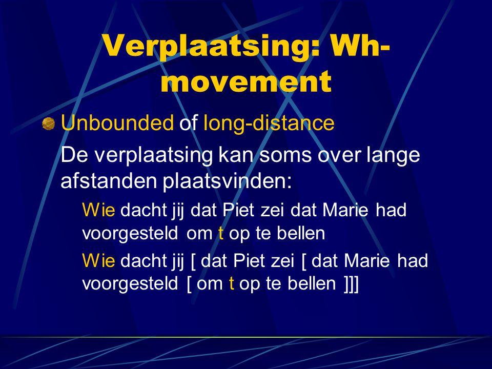 Verplaatsing: Wh- movement Unbounded of long-distance De verplaatsing kan soms over lange afstanden plaatsvinden: Wie dacht jij dat Piet zei dat Marie