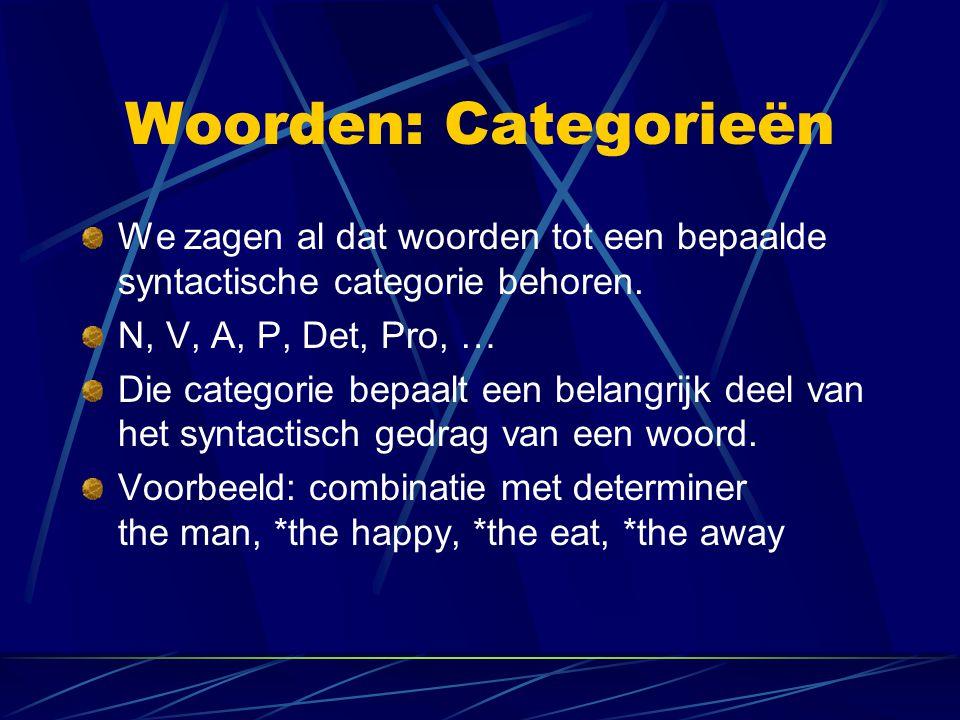Woorden: Categorieën We zagen al dat woorden tot een bepaalde syntactische categorie behoren. N, V, A, P, Det, Pro, … Die categorie bepaalt een belang