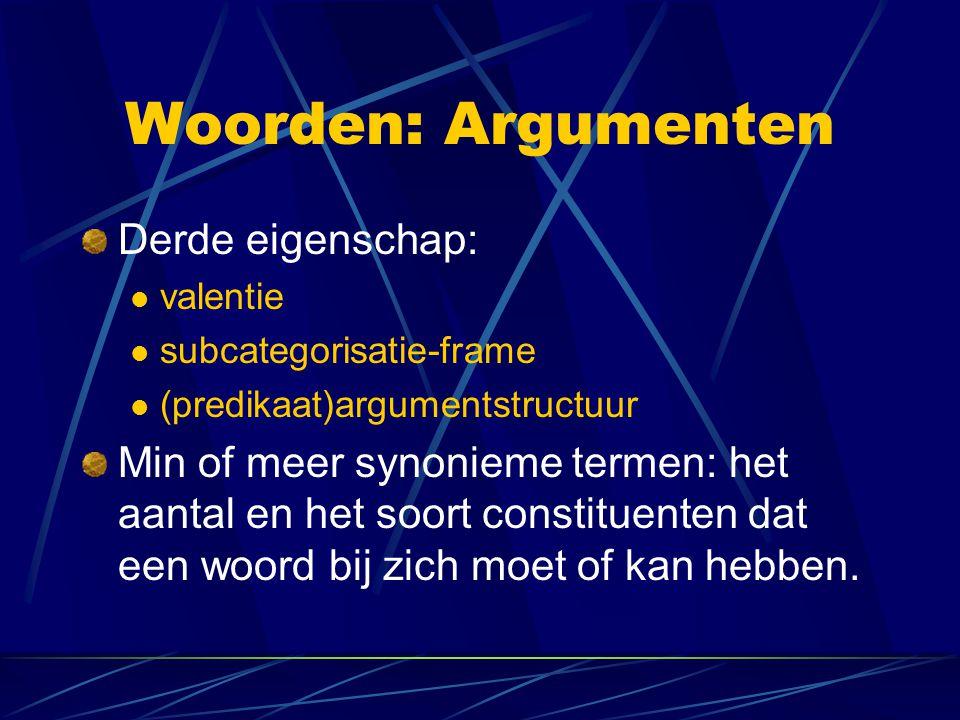 Woorden: Argumenten Derde eigenschap: valentie subcategorisatie-frame (predikaat)argumentstructuur Min of meer synonieme termen: het aantal en het soo