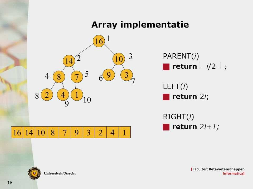 18 Array implementatie PARENT(i)  return  i/2  LEFT(i)  return 2i; RIGHT(i)  return 2i+1; 16 14 8 241 7 10 93 1 2 3 4 5 6 7 8 9 1614108793241
