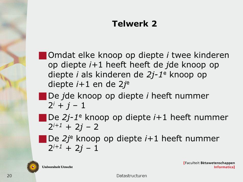 20 Telwerk 2  Omdat elke knoop op diepte i twee kinderen op diepte i+1 heeft heeft de jde knoop op diepte i als kinderen de 2j-1 e knoop op diepte i+1 en de 2j e  De jde knoop op diepte i heeft nummer 2 i + j – 1  De 2j-1 e knoop op diepte i+1 heeft nummer 2 i+1 + 2j – 2  De 2j e knoop op diepte i+1 heeft nummer 2 i+1 + 2j – 1 Datastructuren