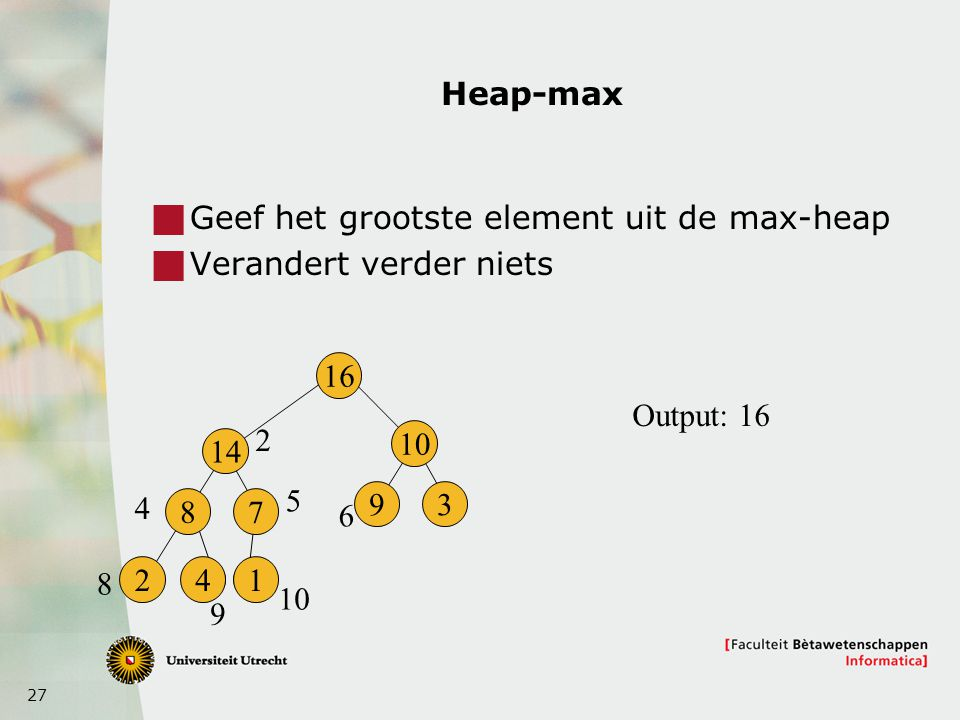 27 Heap-max  Geef het grootste element uit de max-heap  Verandert verder niets 16 14 8 241 7 10 93 2 4 5 6 8 9 Output: 16