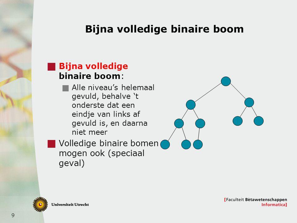 9 Bijna volledige binaire boom  Bijna volledige binaire boom:  Alle niveau's helemaal gevuld, behalve 't onderste dat een eindje van links af gevuld is, en daarna niet meer  Volledige binaire bomen mogen ook (speciaal geval)