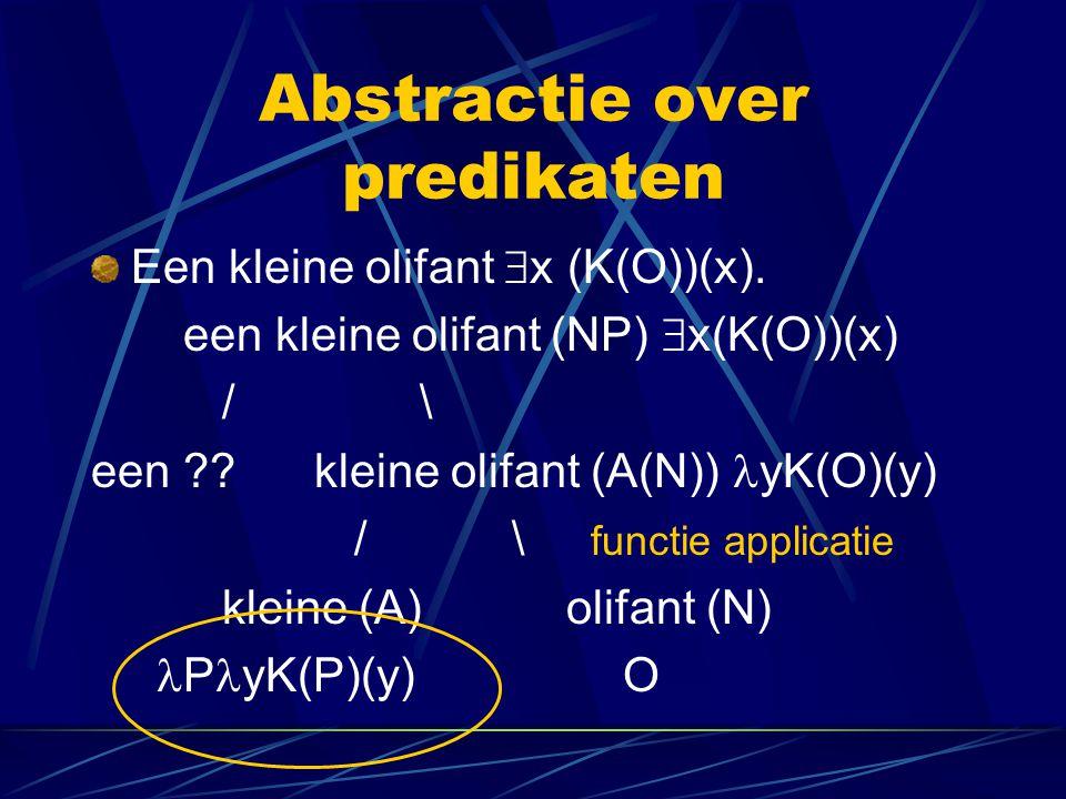 Abstractie over predikaten Een kleine olifant  x (K(O))(x). een kleine olifant (NP)  x(K(O))(x) / \ een ?? kleine olifant (A(N)) yK(O)(y) / \ functi