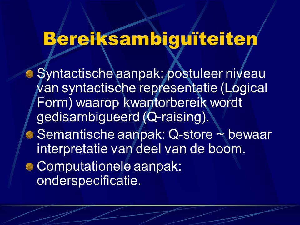 Bereiksambiguïteiten Syntactische aanpak: postuleer niveau van syntactische representatie (Logical Form) waarop kwantorbereik wordt gedisambigueerd (Q