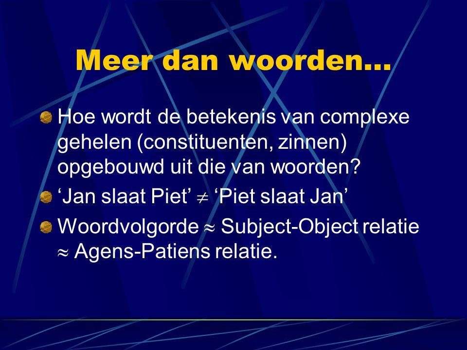 Meer dan woorden… Hoe wordt de betekenis van complexe gehelen (constituenten, zinnen) opgebouwd uit die van woorden? 'Jan slaat Piet'  'Piet slaat Ja