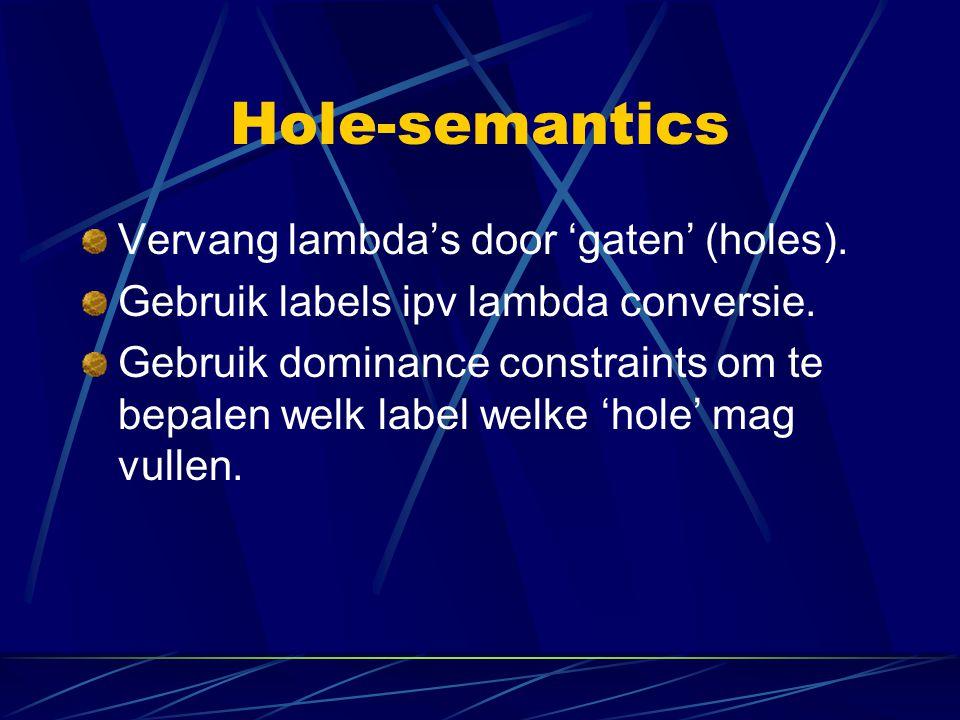 Hole-semantics Vervang lambda's door 'gaten' (holes). Gebruik labels ipv lambda conversie. Gebruik dominance constraints om te bepalen welk label welk