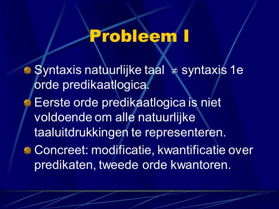 Bereiksambiguïteiten Syntactische aanpak: postuleer niveau van syntactische representatie (Logical Form) waarop kwantorbereik wordt gedisambigueerd (Q-raising).
