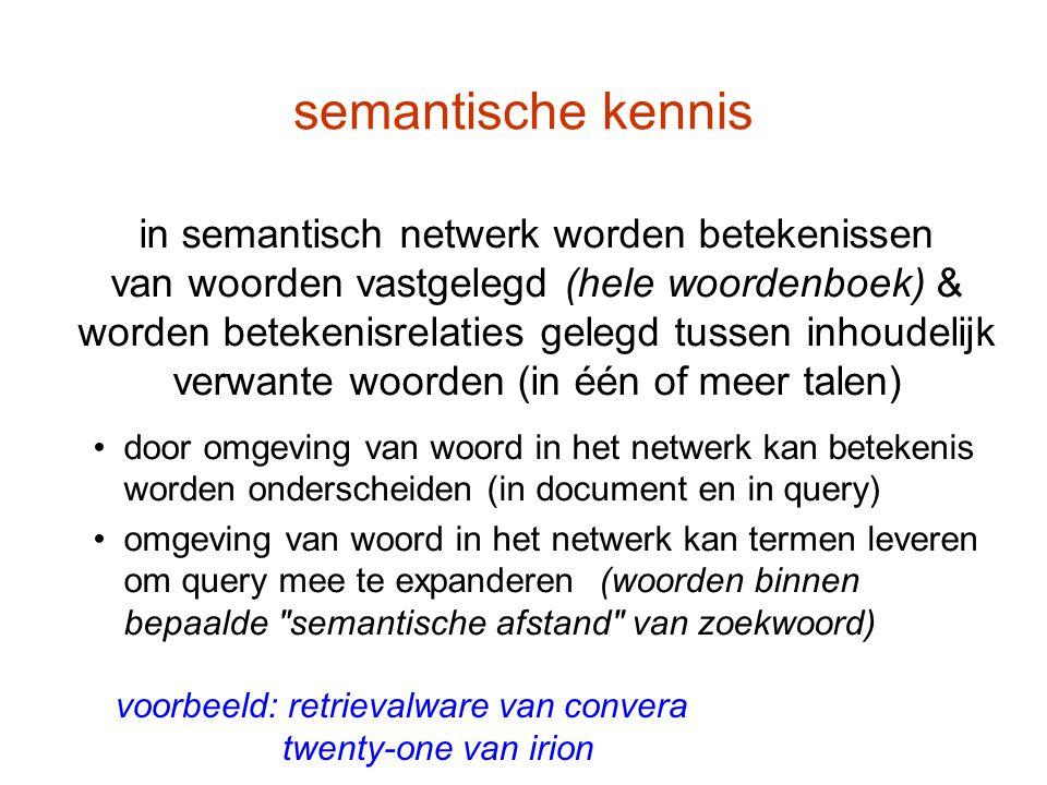 semantische kennis voorbeeld: retrievalware van convera twenty-one van irion in semantisch netwerk worden betekenissen van woorden vastgelegd (hele wo