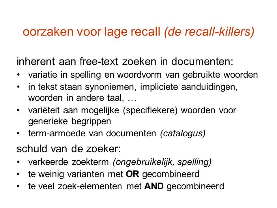 oorzaken voor lage recall (de recall-killers) inherent aan free-text zoeken in documenten: variatie in spelling en woordvorm van gebruikte woorden in