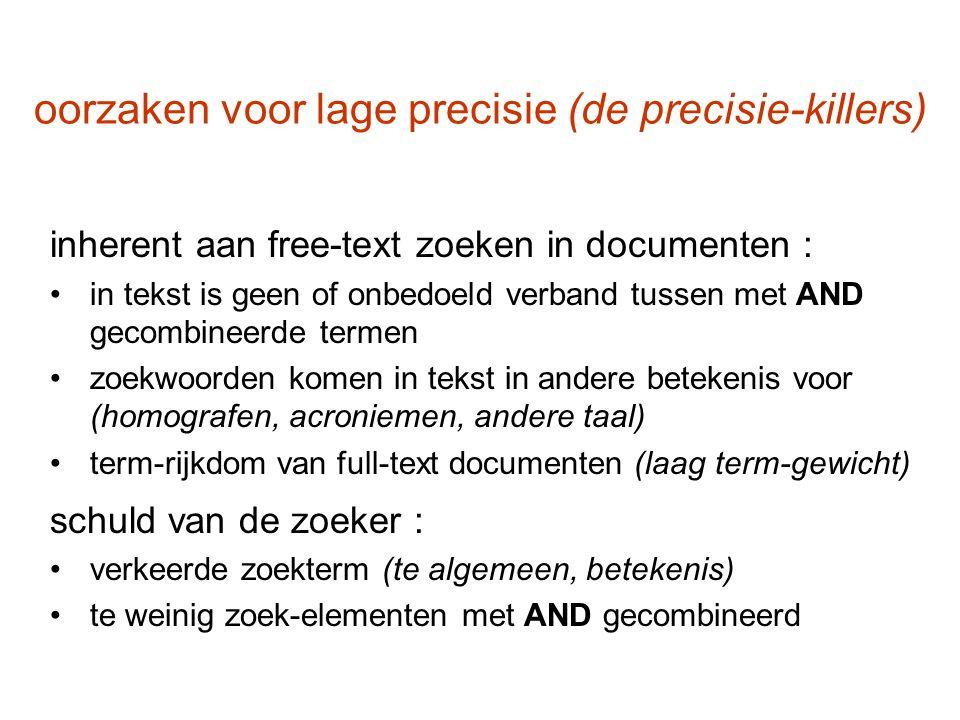 oorzaken voor lage precisie (de precisie-killers) inherent aan free-text zoeken in documenten : in tekst is geen of onbedoeld verband tussen met AND g