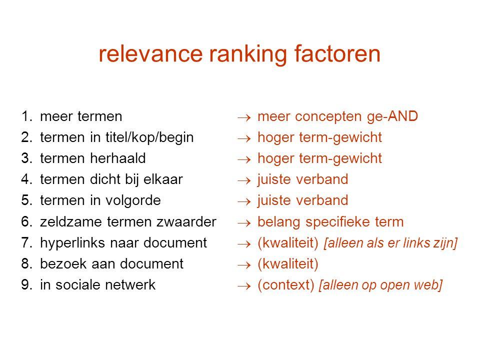 relevance ranking factoren 1.meer termen 2.termen in titel/kop/begin 3.termen herhaald 4.termen dicht bij elkaar 5.termen in volgorde 6.zeldzame terme