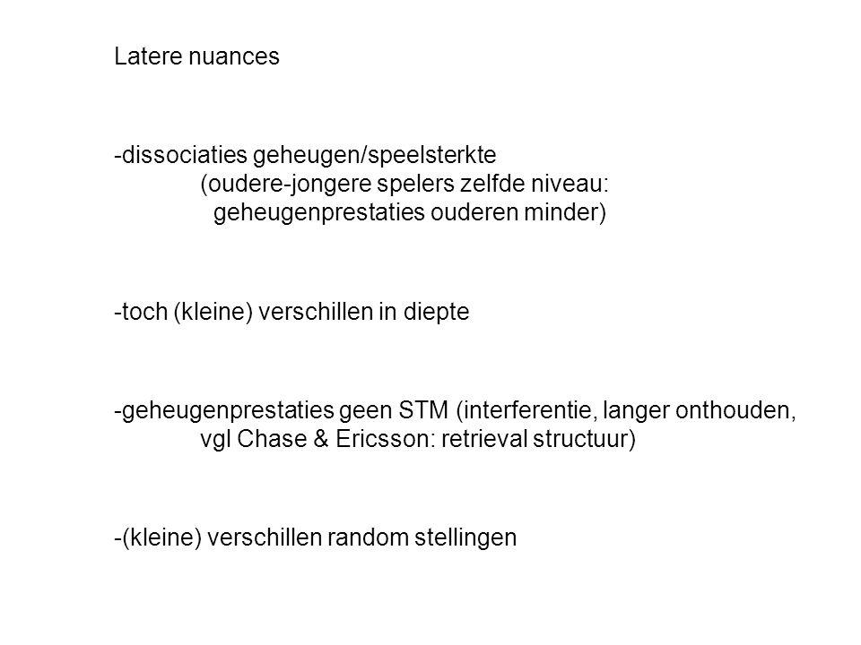 Latere nuances -dissociaties geheugen/speelsterkte (oudere-jongere spelers zelfde niveau: geheugenprestaties ouderen minder) -toch (kleine) verschille