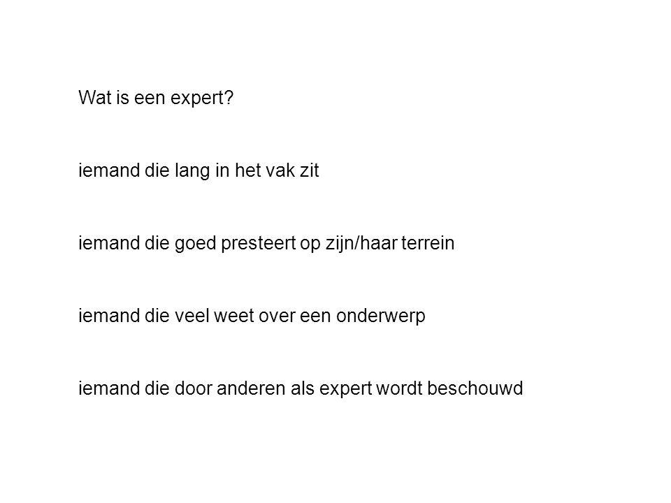 Wat is een expert.