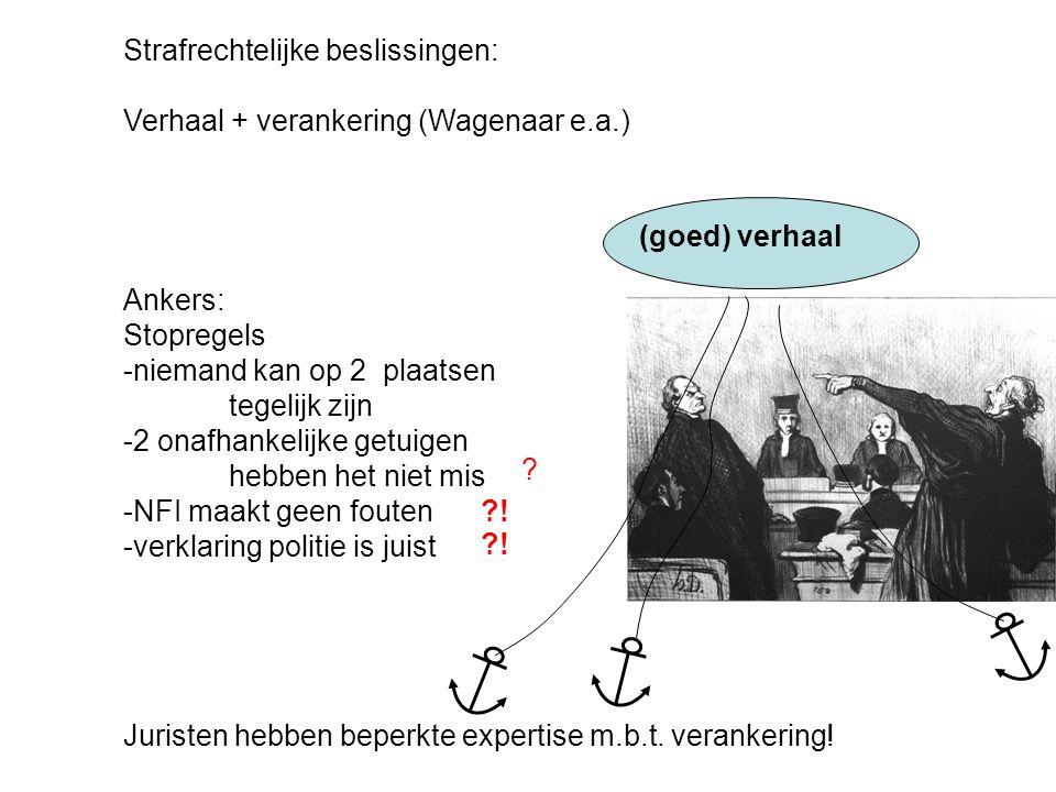Strafrechtelijke beslissingen: Verhaal + verankering (Wagenaar e.a.) (goed) verhaal Ankers: Stopregels -niemand kan op 2 plaatsen tegelijk zijn -2 ona