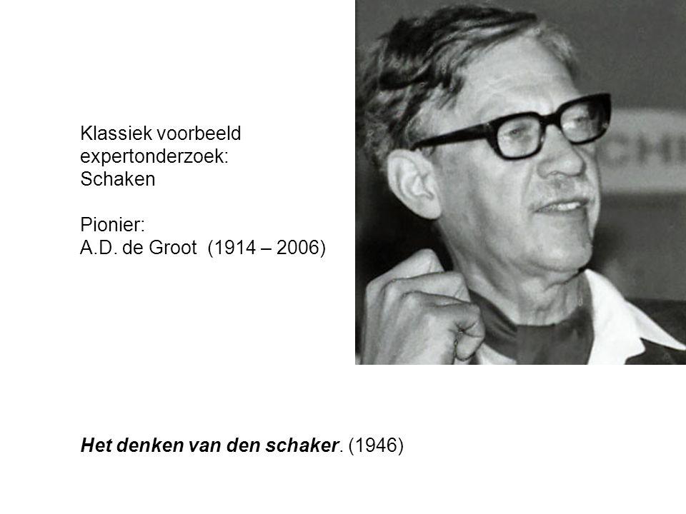 Klassiek voorbeeld expertonderzoek: Schaken Pionier: A.D. de Groot (1914 – 2006) Het denken van den schaker. (1946)