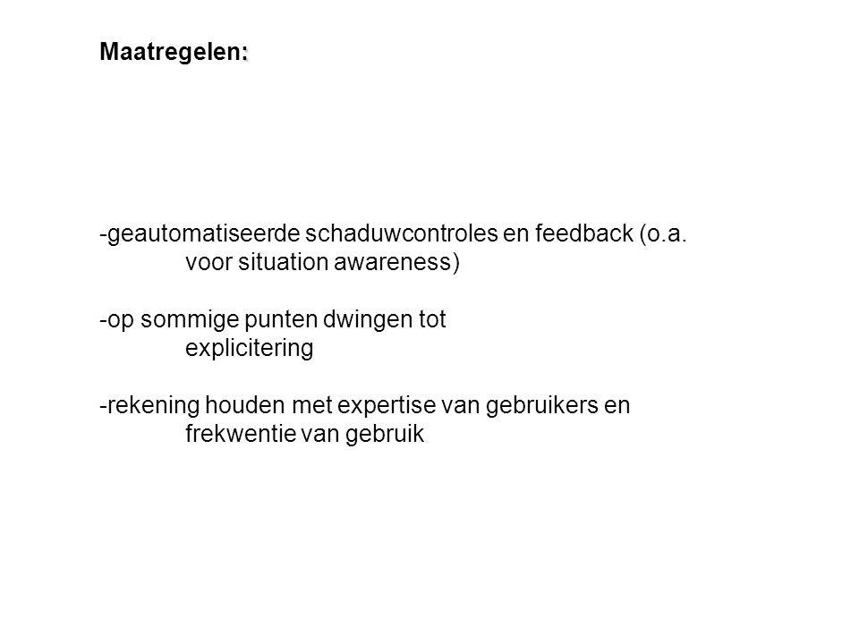 -geautomatiseerde schaduwcontroles en feedback (o.a. voor situation awareness) -op sommige punten dwingen tot explicitering -rekening houden met exper